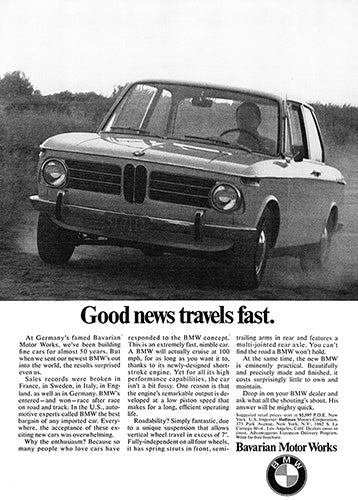 BMW Car Poster, 1969 BMW 2002, Vintage Ad Wall Art