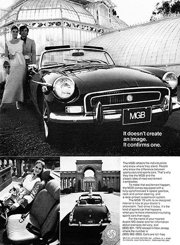 MG Car Poster, 1972 MG MGB, Vintage Ad Wall Art