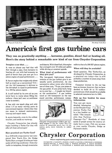 Chrysler Car Poster, 1962 Chrysler Gas Turbine Plymouth Turbo Fury Dodge Turbo D, Vintage Ad Wall Art
