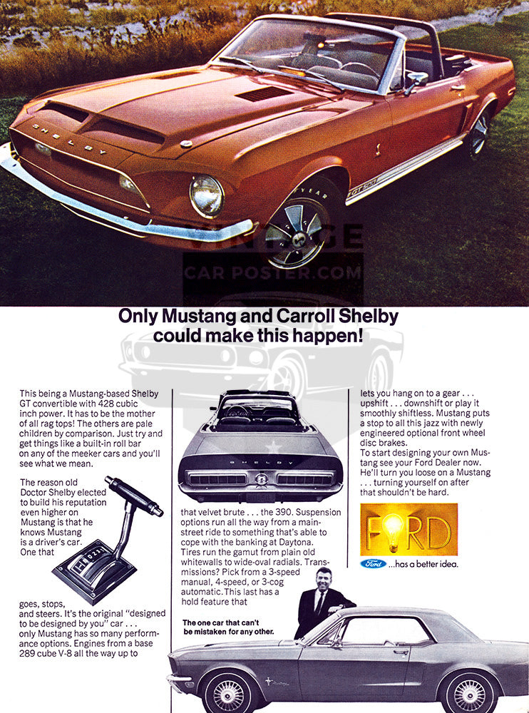 1968 Ford Mustang Shelby GT 500 Convertible     #101019