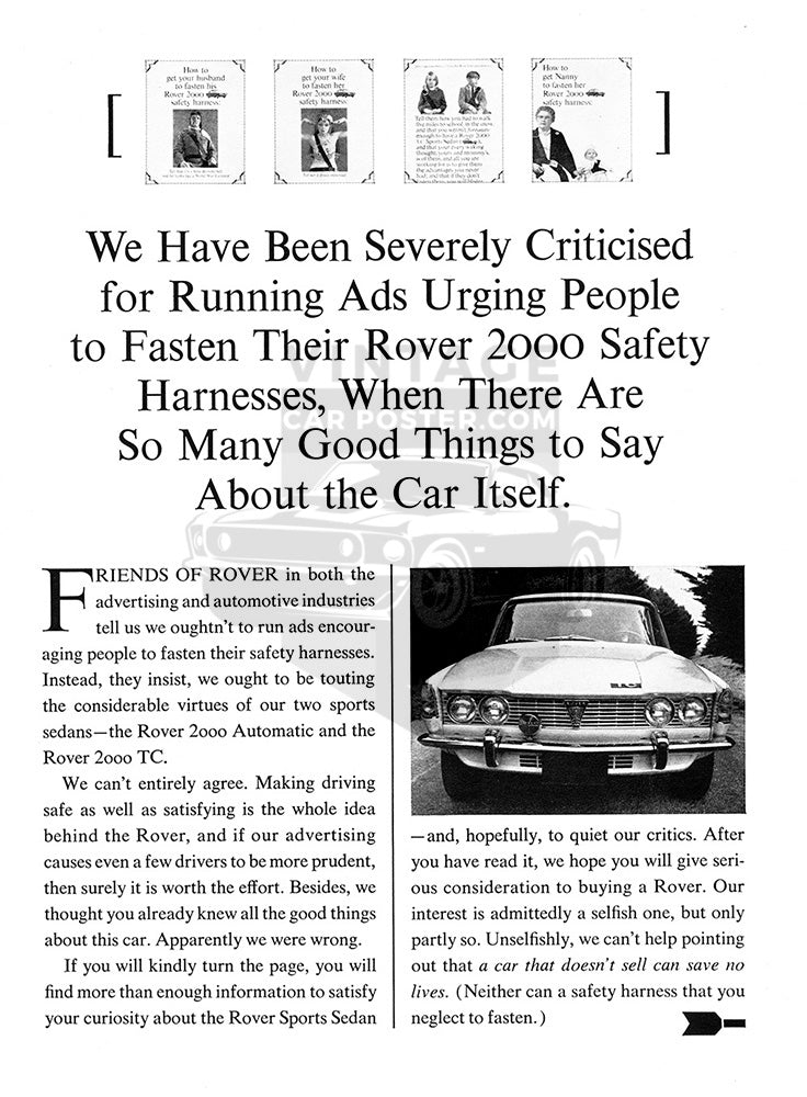 Rover Car Poster, 1967 Rover 2000 TC , Vintage Ad Wall Art
