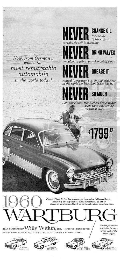 Wartburg Car Poster, 1960 Wartburg Sedan, Vintage Ad Wall Art
