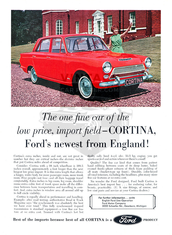 Ford Car Poster, 1963 Ford Cortina, Vintage Ad Wall Art