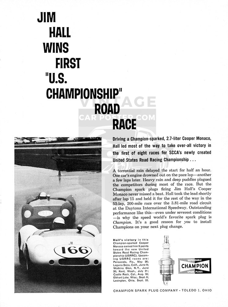 Cooper Car Poster, 1963 Champion Spark Plugs Cooper Monaco, Vintage Ad Wall Art