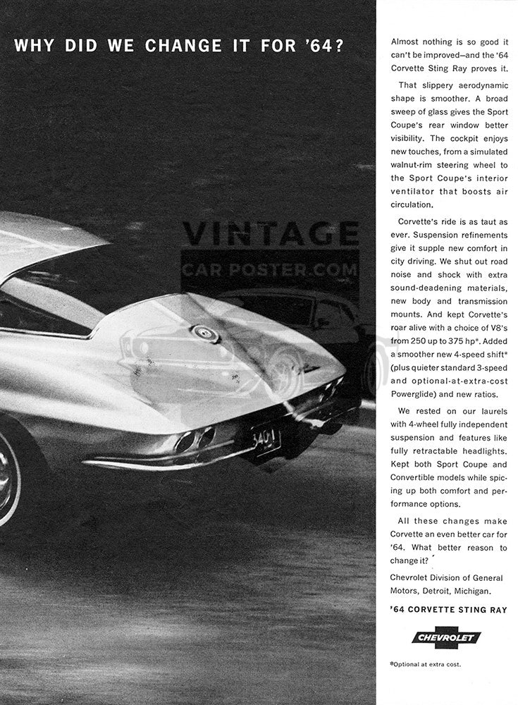Chevrolet Car Poster, 1964 Chevrolet Corvette Sting Ray , Vintage Ad Wall Art