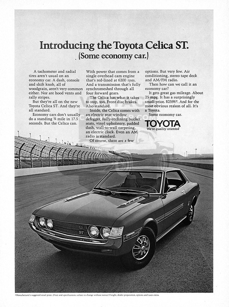 Toyota Car Poster, 1971 Toyota Celica ST, Vintage Ad Wall Art