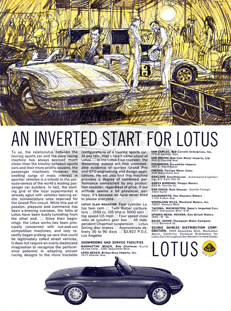 Lotus Car Poster, 1964 Lotus Elan Roadster, Vintage Ad Wall Art