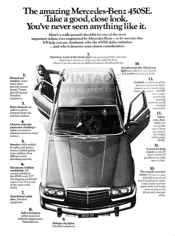 Mercedes Car Poster, 1976 Mercedes Benz 450SE , Vintage Ad Wall Art