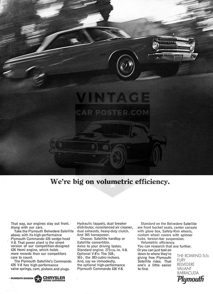 Plymouth Car Poster, 1965 Plymouth Chrysler Belvedere Satellite, Vintage Ad Wall Art