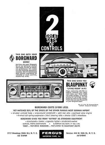 1960 Blaupunkt Car Audio Borgward     #100109