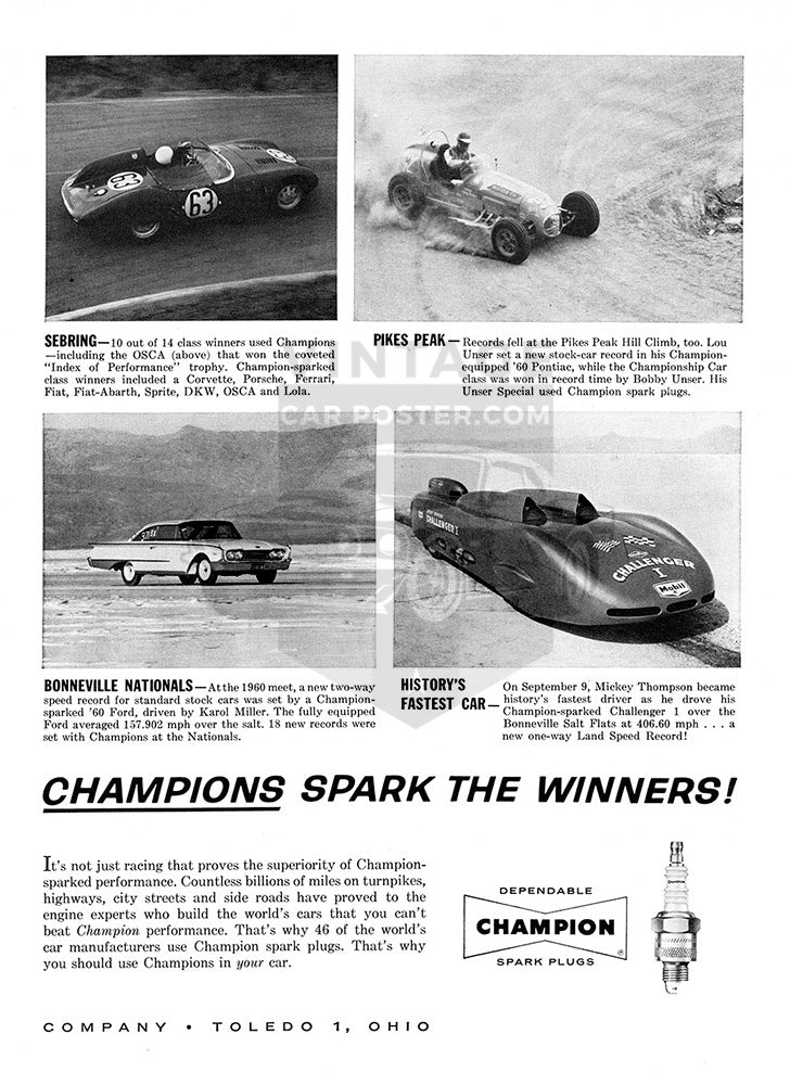 Champion Car Poster, 1960 Champion Spark Plugs, Vintage Ad Wall Art