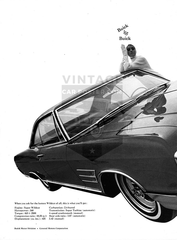 Buick Car Poster, 1965 Buick Wildcat , Vintage Ad Wall Art