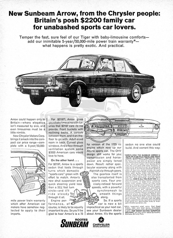Sunbeam Car Poster, 1967 Sunbeam Arrow, Vintage Ad Wall Art