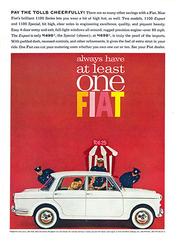 Fiat Car Poster, 1962 Fiat 1100 Sedan Export Special, Vintage Ad Wall Art