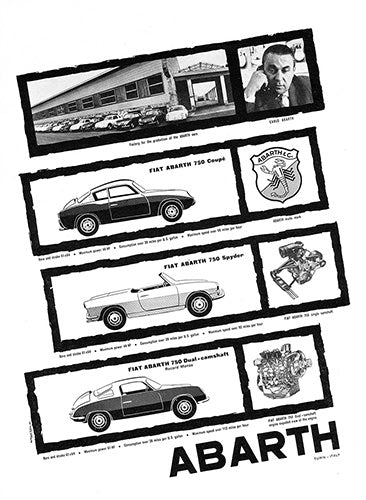 fiat single page prints vintagecarposter Fiat L 1958 fiat abarth 750 coupe spider dual 100047 1958 fiat abarth 750 coupe spider dual 100047