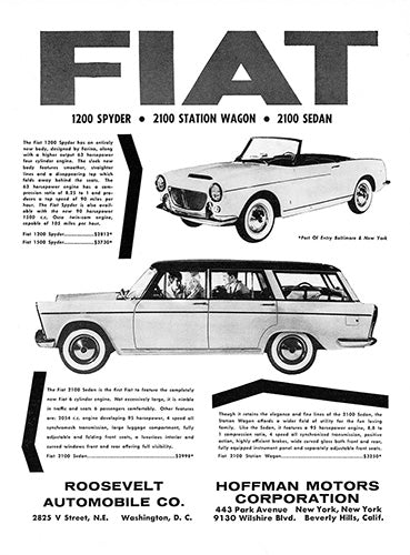 Fiat Car Poster, 1960 Fiat 1200 Spyder 2100 Station Wagon 2100 Sedan , Vintage Ad Wall Art