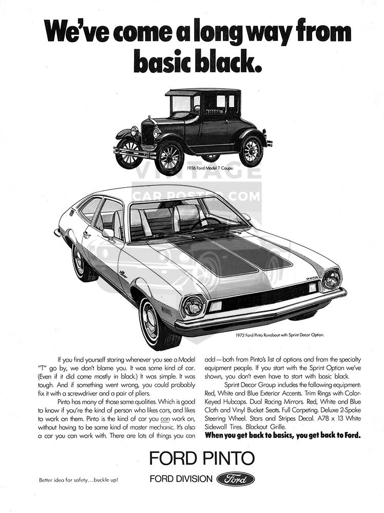 Ford Car Poster, 1972 Ford Pinto Runabout Sport, Vintage Ad Wall Art