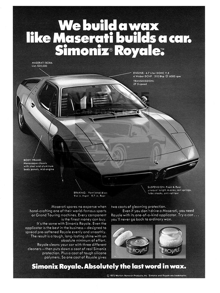 1974 Simoniz Royal Wax Maserati Bora     #102178