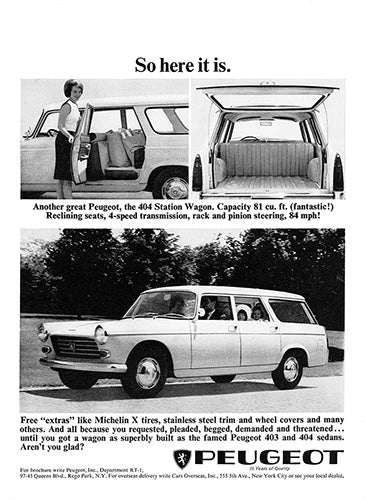 Peugeot Car Poster, 1964 Peugeot 404 Station Wagon, Vintage Ad Wall Art