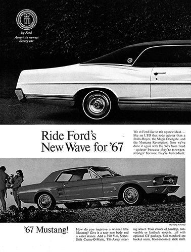 Ford Car Poster, 1967 Ford Mustang LTD Fairlane Falcon , Vintage Ad Wall Art
