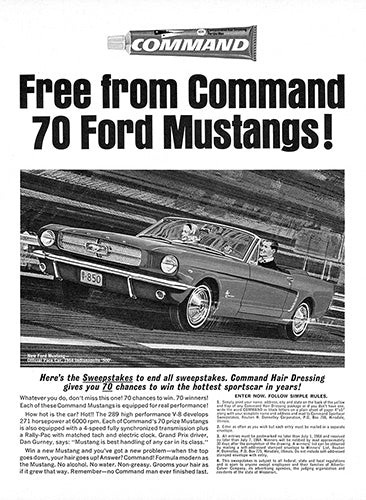 Ford Car Poster, 1964 Command Hair Gel Ford Mustang Convertible, Vintage Ad Wall Art