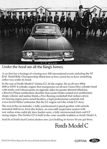 Ford Car Poster, 1968 Ford Cortina GT, Vintage Ad Wall Art