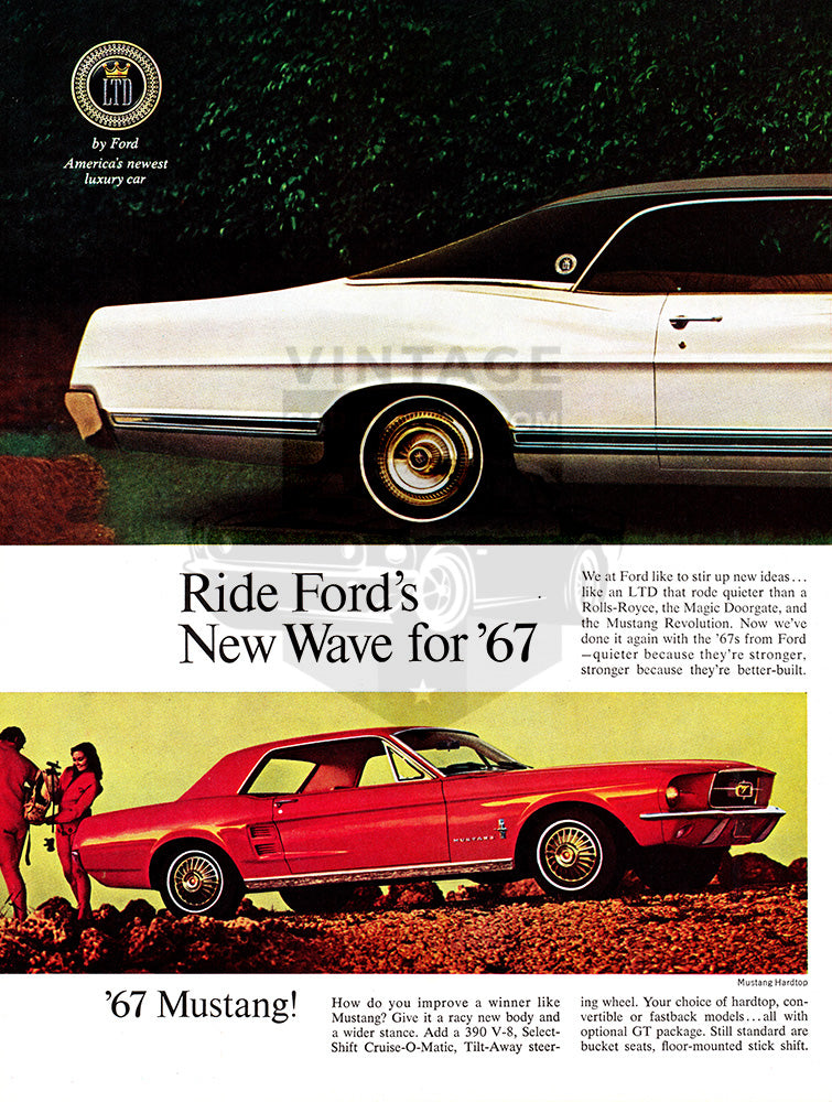 Ford Car Poster, 1967 Ford LTD Mustang Hardtop Fairlane Falcon , Vintage Ad Wall Art