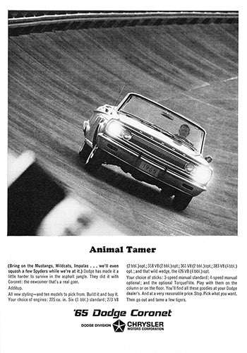 Dodge Car Poster, 1965 Dodge Coronet, Vintage Ad Wall Art