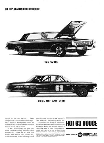 Dodge Car Poster, 1963 Dodge 426, Vintage Ad Wall Art
