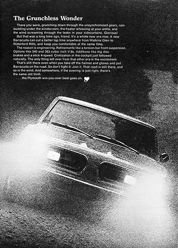Plymouth Car Poster, 1967 Plymouth Barracuda , Vintage Ad Wall Art