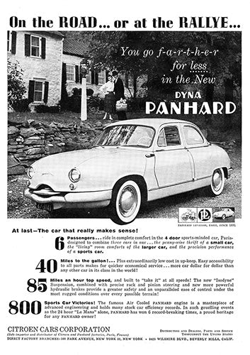 Dyna Car Poster, 1958 Dyna Panhard, Vintage Ad Wall Art
