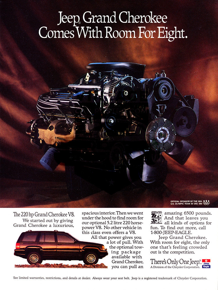Jeep Car Poster, 1993 Jeep Grand Cherokee, Vintage Ad Wall Art