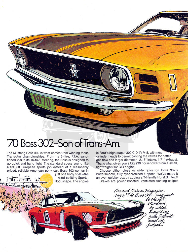 Ford Car Poster, 1970 Ford Mustang Boss 302 , Vintage Ad Wall Art