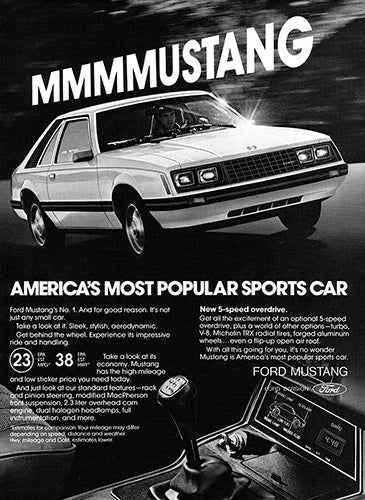 Ford Car Poster, 1980 Ford Mustang, Vintage Ad Wall Art
