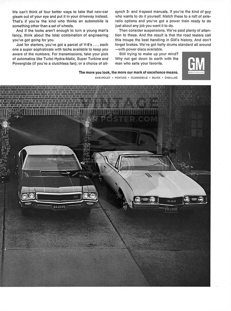 GM Car Poster, 1968 GM Pontiac GTO Chevrolet Chevelle SS 396 Buick GS …mobile 442 , Vintage Ad Wall Art