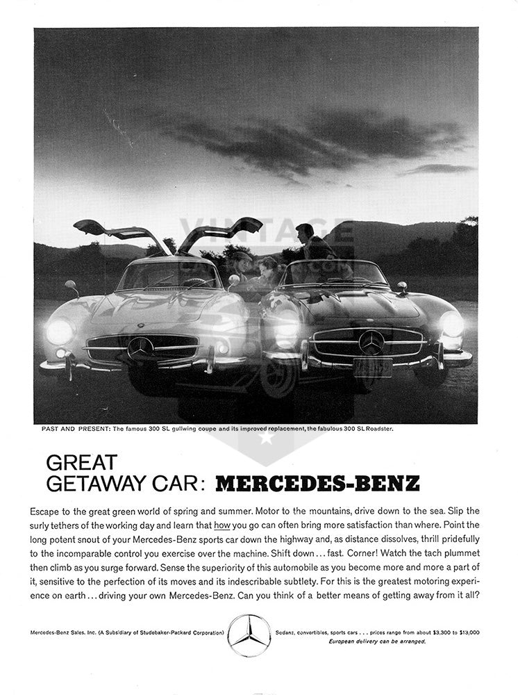 Mercedes Car Poster, 1960 Mercedes Benz 300 SL gullwing roadster, Vintage Ad Wall Art