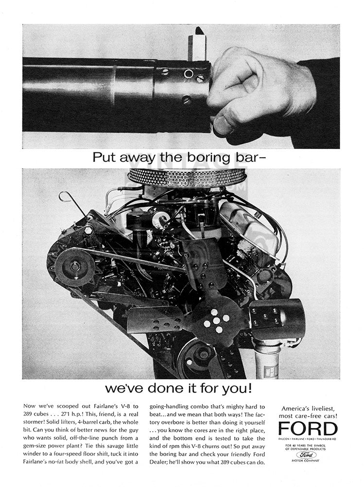 Ford Car Poster, 1963 Ford 289 V8, Vintage Ad Wall Art