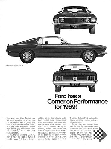 Ford Car Poster, 1969 Ford Mustang Mach 1, Vintage Ad Wall Art