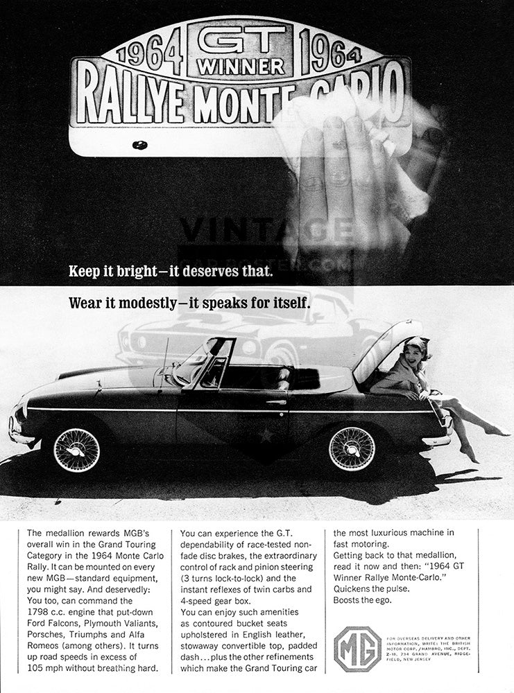 MG Car Poster, 1964 MG MGB, Vintage Ad Wall Art