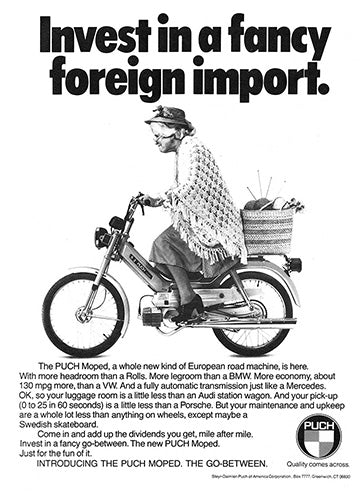 Puch Car Poster, 1976 Puch Moped, Vintage Ad Wall Art