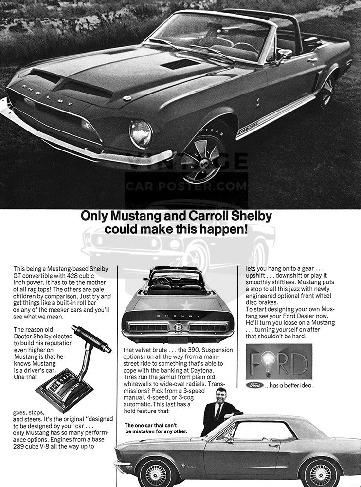 Ford Car Poster, 1968 Ford Mustang Shelby GT 500 Convertible, Vintage Ad Wall Art