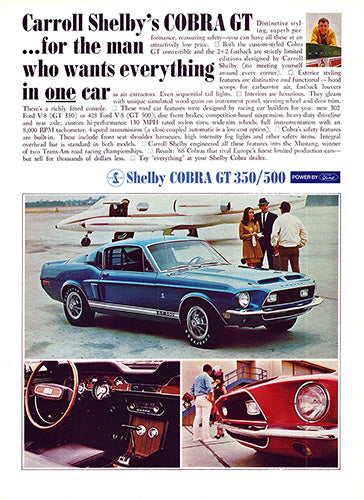 1968 Ford Mustang Shelby Cobra GT 350 500     #101015