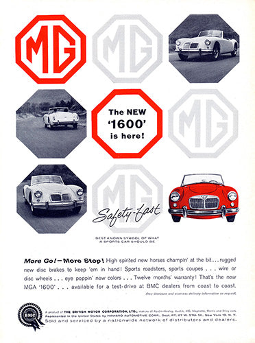 MG Car Poster, 1958 MG MGA 1600, Vintage Ad Wall Art