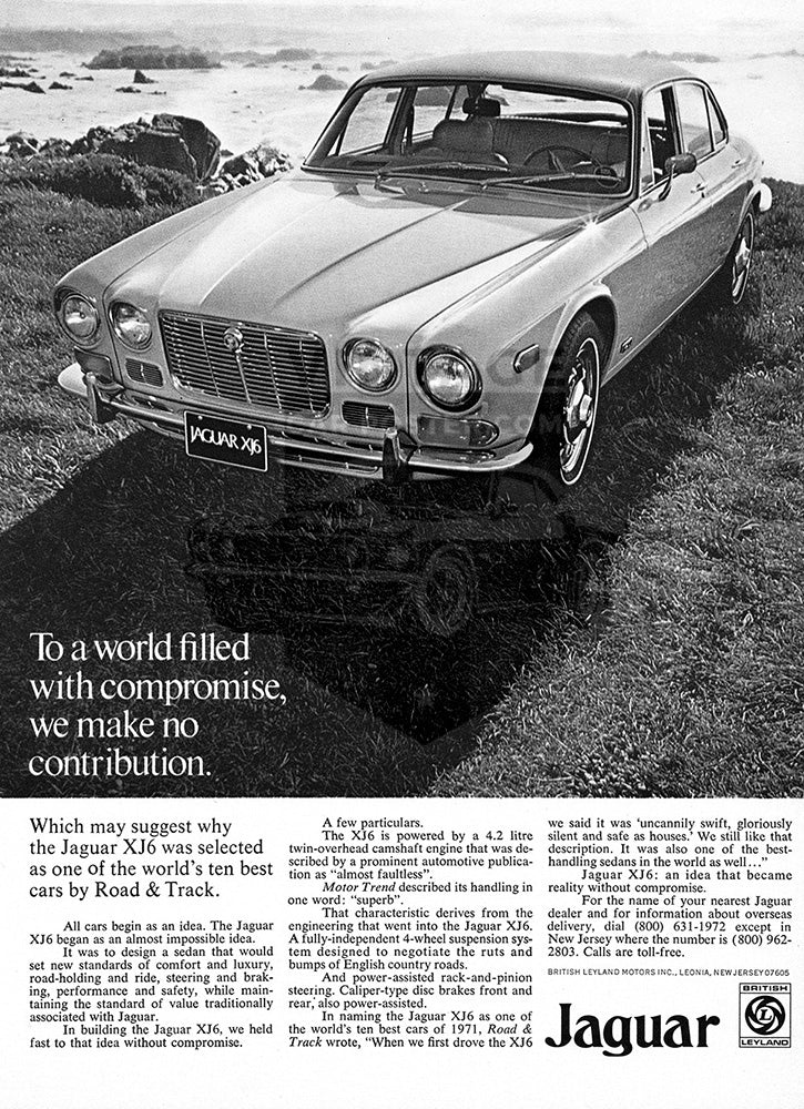 Jaguar Car Poster, 1972 Jaguar XKE 2+2 V12, Vintage Ad Wall Art
