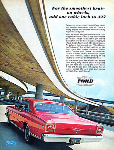 Ford Car Poster, 1966 Ford Galaxie 500 427, Vintage Ad Wall Art