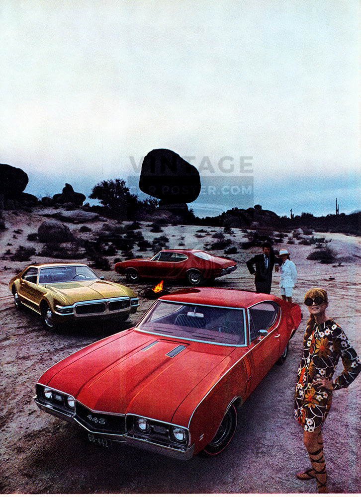 Oldsmobile Car Poster, 1967 Oldsmobile 442 Cutlass Toronado , Vintage Ad Wall Art