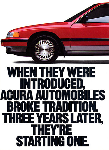 Acura Car Poster, 1989 Acura Integra , Vintage Ad Wall Art