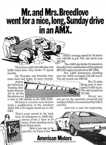 AMC Car Poster, 1968 AMC American Motors AMX, Vintage Ad Wall Art