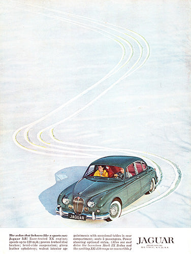 Jaguar Car Poster, 1960 Jaguar Mark IX 3.8 Sedan, Vintage Ad Wall Art