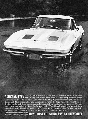 Chevrolet Car Poster, 1963 Chevrolet Corvette Sting Ray, Vintage Ad Wall Art